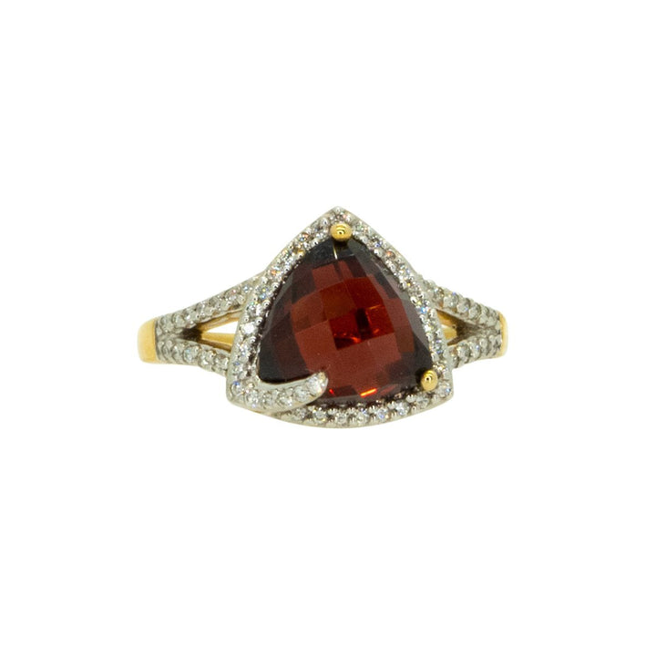 14KT Yellow Gold 4.49ctw Round Cut Diamond and Trillion Cut Red Garnet Halo Gemstone Ring - Giorgio Conti Jewelers