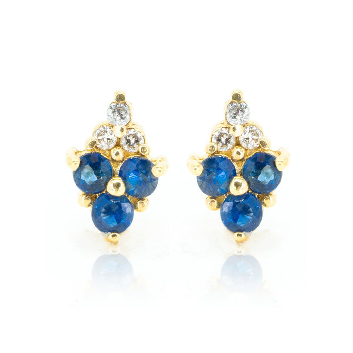 14kt Yellow Gold .57ctw NATURAL Round Cut Sapphire and Diamond Gemstone Stud Earrings - Giorgio Conti Jewelers