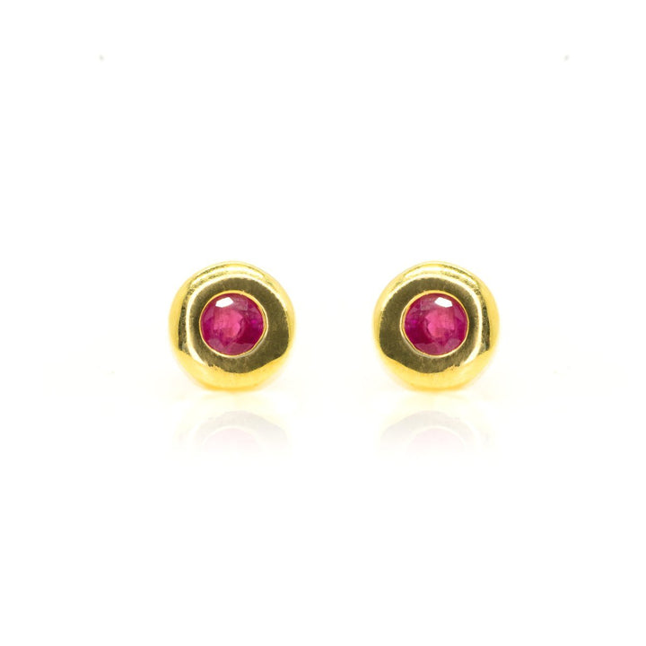 14kt Yellow Gold .70ctw Very Fine NATURAL Ruby Gemstone Stud Earrings Bezel Set - Giorgio Conti Jewelers