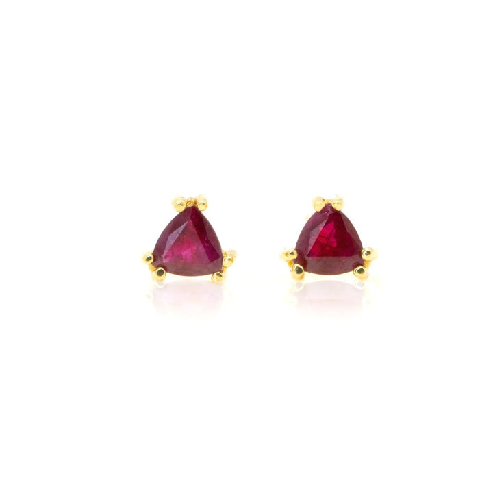 14kt Yellow Gold .75ctw NATURAL Trillion Shape Ruby Stud Earrings - Giorgio Conti Jewelers