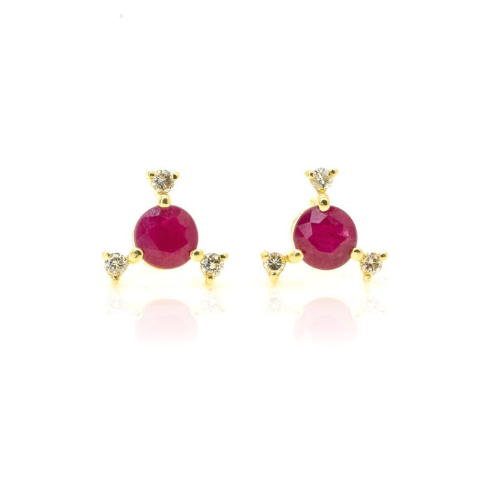 14kt Yellow Gold .79ctw NATURAL Round Cut Ruby and Diamond Gemstone Stud Earrings - Giorgio Conti Jewelers