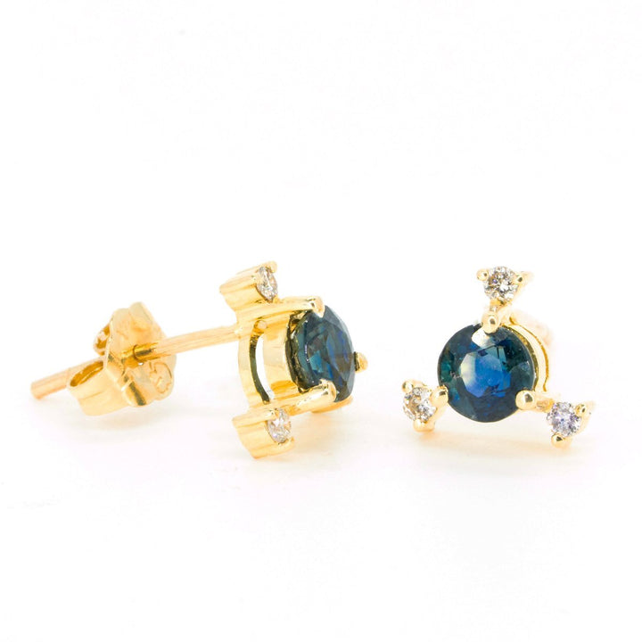 14kt Yellow Gold .79ctw NATURAL Round Cut Sapphire and Diamond Gemstone Stud Earrings - Giorgio Conti Jewelers