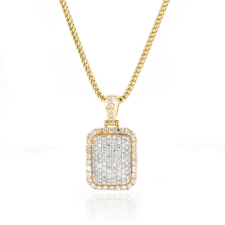 14KT Yellow Gold Domed Pave Dog Tag With 2.00CTW Diamond Pendant - Giorgio Conti Jewelers