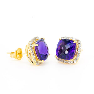 14kt Yellow Gold Fine Natural 4.94ctw Amethyst and Diamond Cushion Shape Stud Earrings - Giorgio Conti Jewelers