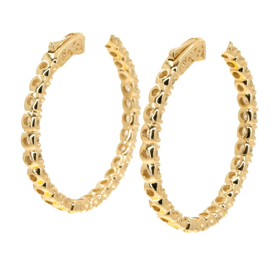 14KT Yellow Gold In and Out 5.30CTW Diamond Hoop Earrings - Giorgio Conti Jewelers