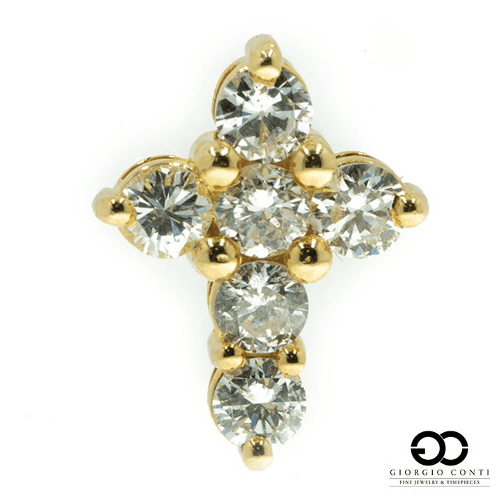 14KT Yellow Gold Life Diamond Cross Pendant - Giorgio Conti Jewelers