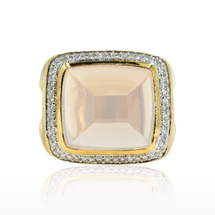 14kt Yellow Gold Modern Designer Large 14.23ctw Rose Quartz Statement Ring With Diamonds - Giorgio Conti Jewelers