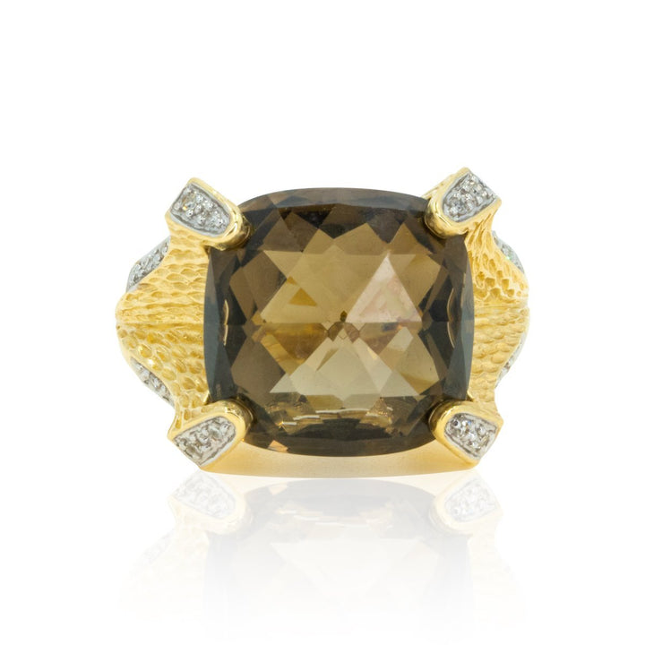 14kt Yellow Gold Modern Textured Designer Large 9.40ctw Smoky Topaz Statement Ring With Diamonds - Giorgio Conti Jewelers