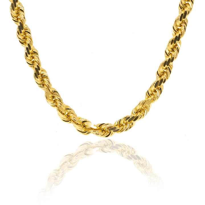 14KT Yellow Gold Solid Rope Diamond Cut Mens Chain - Giorgio Conti Jewelers
