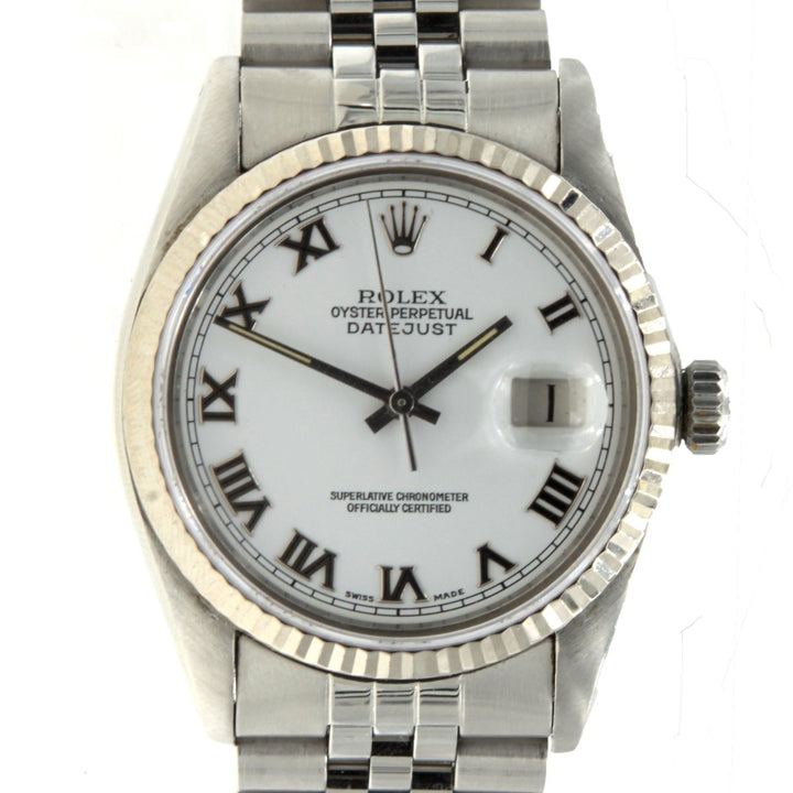 Rolex DateJust 16030 Stainless Steel Fluted Bezel Ivory Roman Numeral Dial Mens Watch - Giorgio Conti Jewelers