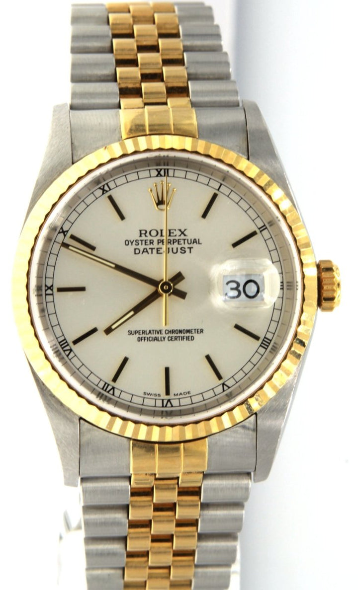 Rolex DateJust 16233 Two Tone Ivory Dial 36MM Mens Watch - Giorgio Conti Jewelers