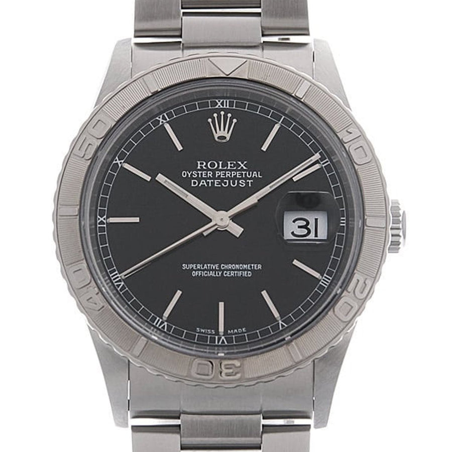 Rolex Turnograph Thunderbird 16264 Stainless Steel Black Dial Mens Watch - Giorgio Conti Jewelers