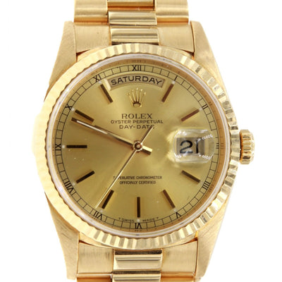 Rolex President Day-Date 18238 18KT Yellow Gold 36MM Champagne Dial Mens Watch - Giorgio Conti Jewelers