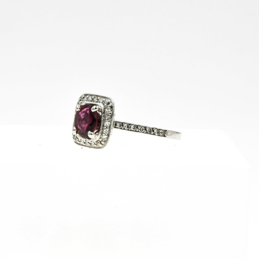 18K White Gold Ruby And Diamond Halo Ring - Giorgio Conti Jewelers