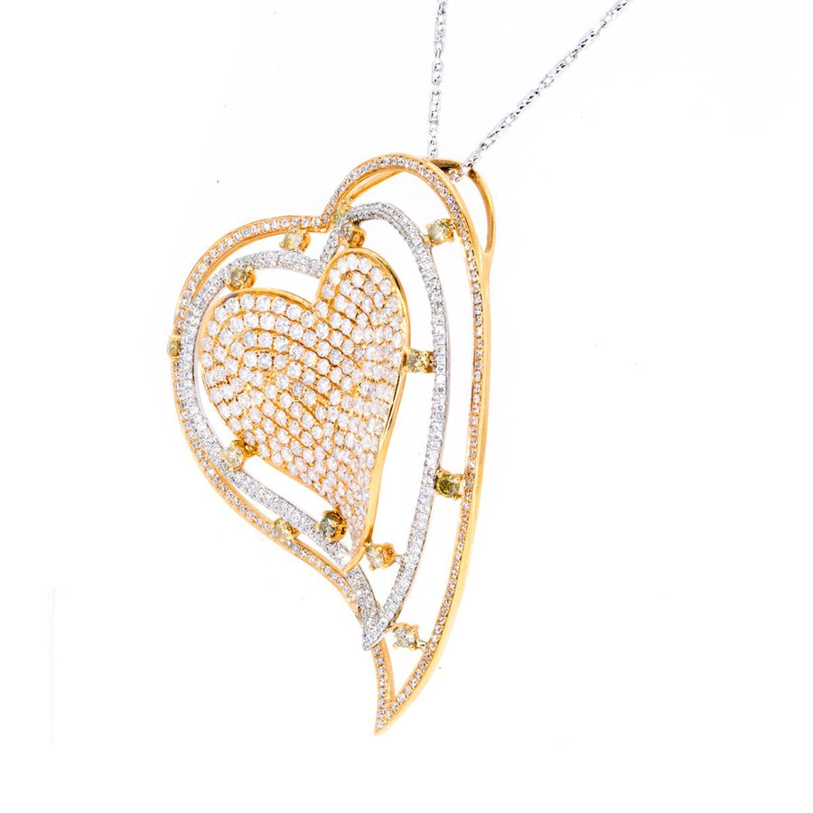 18KT Two Tone Rose and White Gold 3.30ctw Round Cut Pave Set Heart Diamond Pendant - Giorgio Conti Jewelers