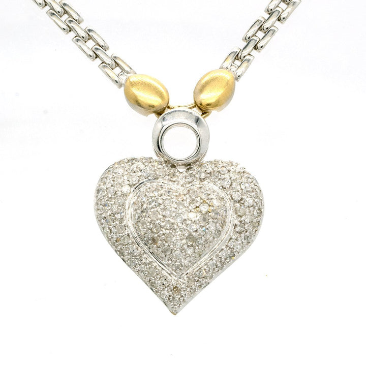 18KT Two Tone White and Yellow Gold 1.00CTW Round Cut Pave Set Diamond Heart Pendant - Giorgio Conti Jewelers