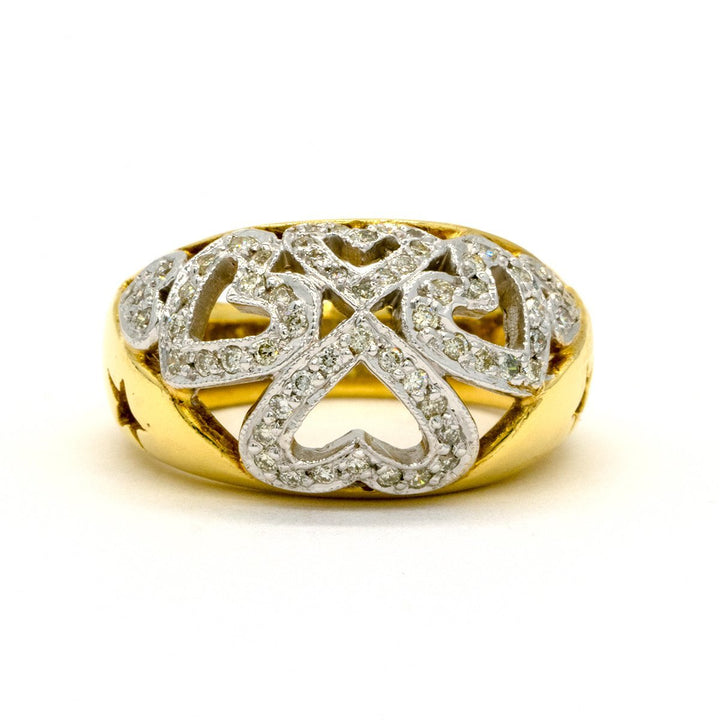 18KT Two Tone Yellow and White Gold 0.65CTW Round Brilliant Cut Pave Set Natural Diamond Cocktail Ring - Giorgio Conti Jewelers
