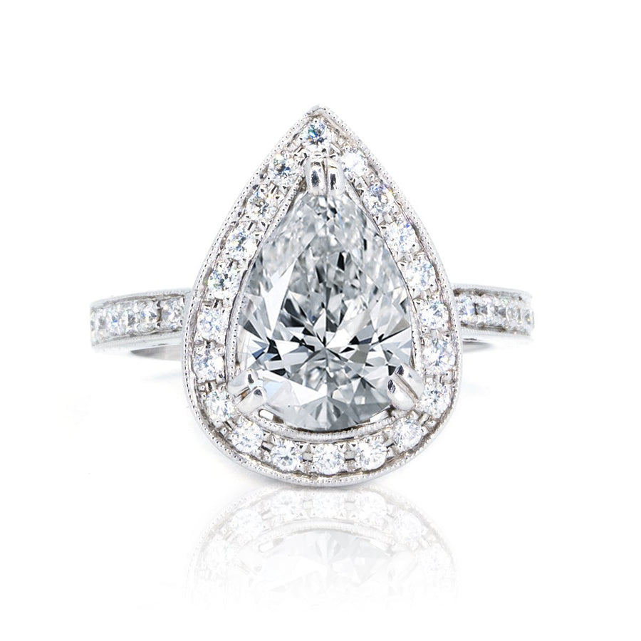 18KT White Gold 0.50ctw Pear Cut Pave Miligrain Set Diamond Engagement Ring - Giorgio Conti Jewelers