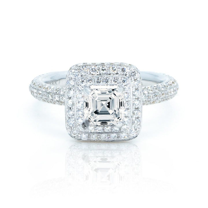 18Kt White Gold 0.73ctw Princess Cut Prong Set Halo Diamond Engagement Ring - Giorgio Conti Jewelers