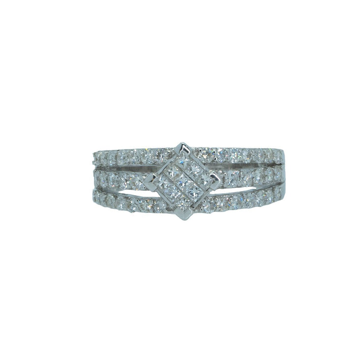 18KT White Gold 1.00ctw Round Cut Prong Set and Princess Cut Invisible Set Diamond Cocktail Ring - Giorgio Conti Jewelers