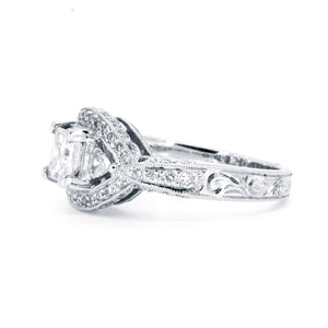 18kt White Gold 1.40ctw Princess Cut Trillion and Round Diamond Engagement Wedding Ring With Vintage Inspired Miligrain - Giorgio Conti Jewelers