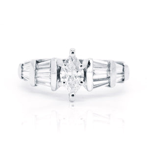 18kt White Gold 1.48 Baguette and Marquise Diamond Vintage Inspired Engagement Wedding Ring - Giorgio Conti Jewelers