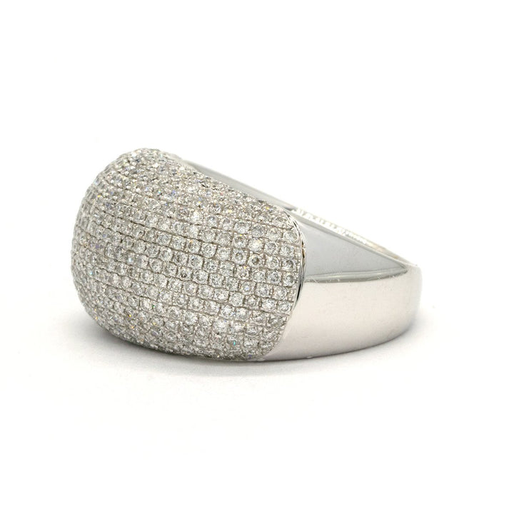 18KT White Gold 1.59CTW Round Brilliant Cut Pave Set Natural Diamond Cocktail Ring - Giorgio Conti Jewelers