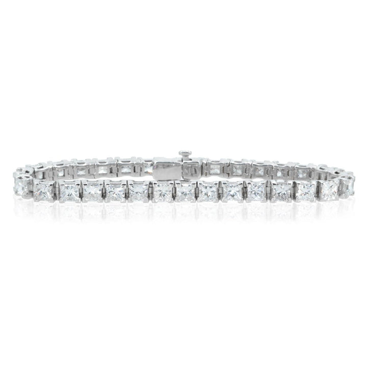 18KT White Gold 16.56CTW Princess Cut Diamond Tennis Bracelet - Giorgio Conti Jewelers