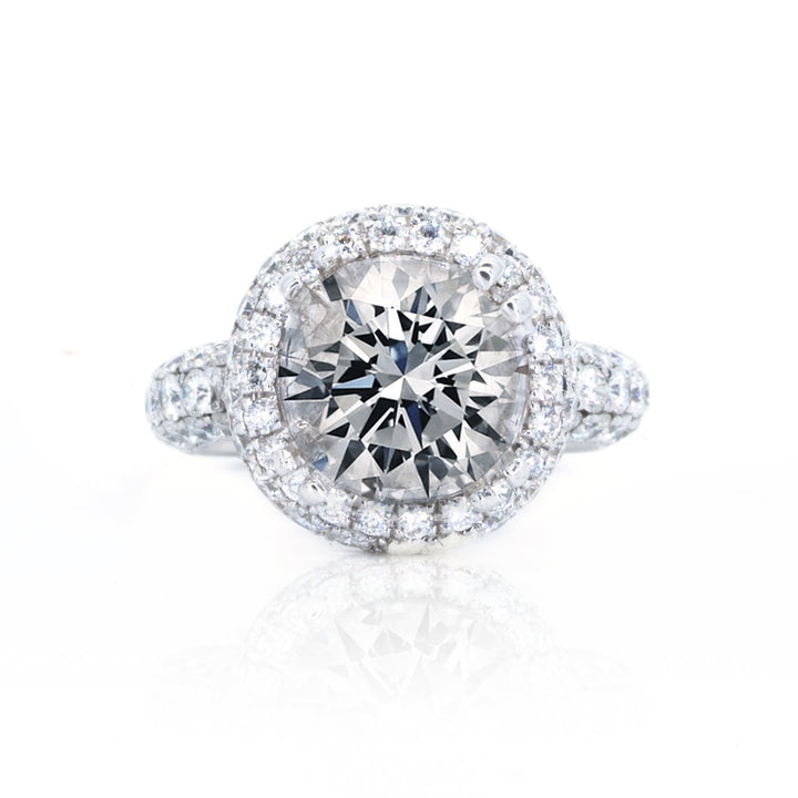 18KT White Gold 1.77ctw Round Cut Prong Set Halo Diamond Engagement Ring - Giorgio Conti Jewelers