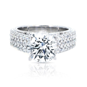 18KT White Gold 1.78ctw Round Cut Prong Miligrain Set Diamond Engagement Ring - Giorgio Conti Jewelers
