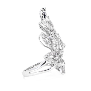 18Kt White Gold 2.19ctw Round Cut Free Form Diamond Ring - Giorgio Conti Jewelers