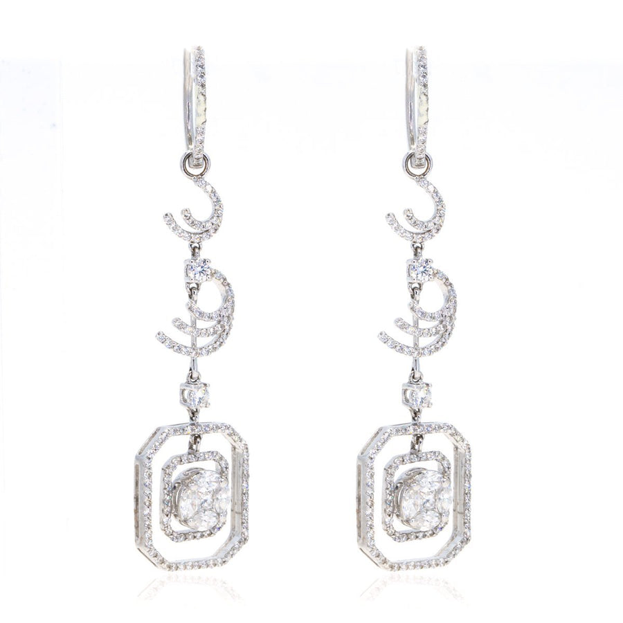 18kt White Gold 2.24ctw Diamond Halo Hanging Free Form Earrings - Giorgio Conti Jewelers