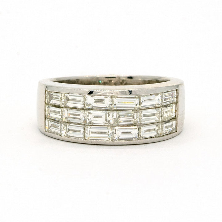 18KT White Gold 2.30CTW Baguette Cut Invisible Set Natural Diamond Cocktail Ring - Giorgio Conti Jewelers