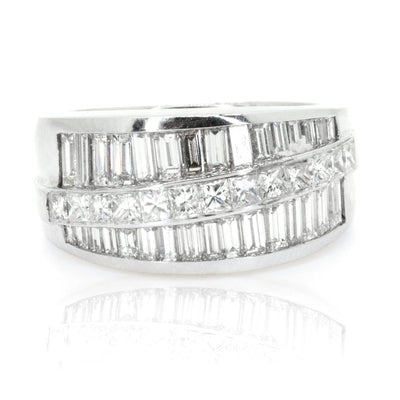 18KT White Gold 2.65ctw Princess Cut Pave Set Diamond Band - Giorgio Conti Jewelers