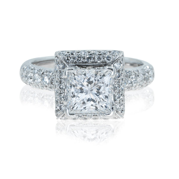 18KT White Gold 3.01CTW Princess Diamond Engagement Ring - Giorgio Conti Jewelers