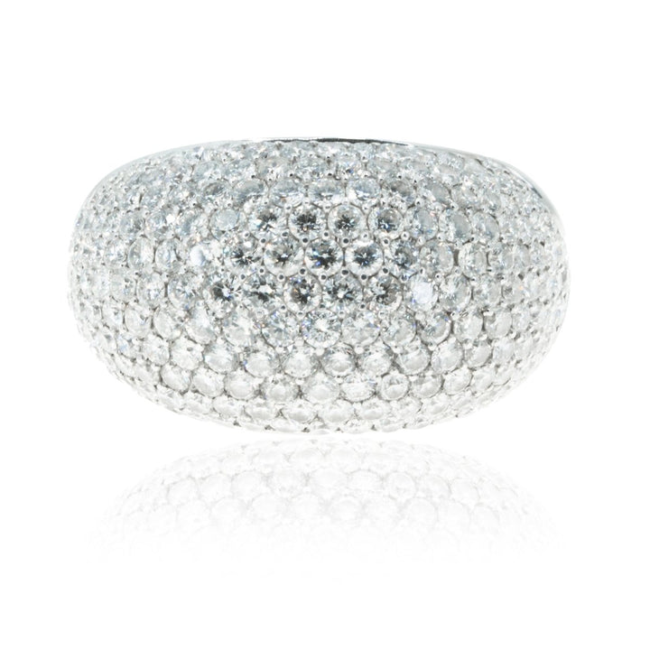 18KT White Gold 3CTW Pave Domed Diamond Ring - Giorgio Conti Jewelers