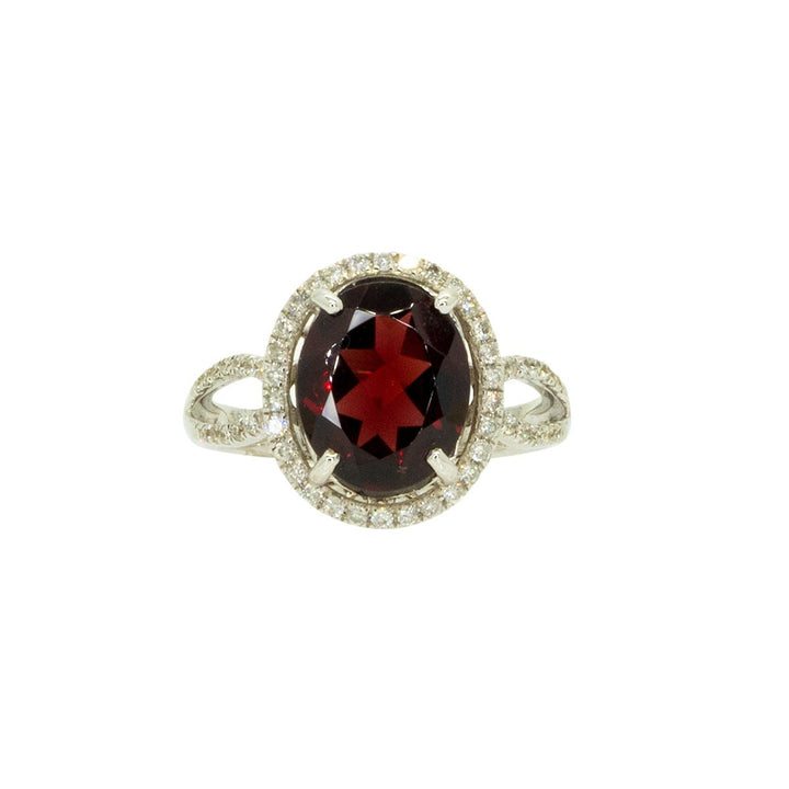 18KT White Gold 4.05ctw Round Cut Diamond and Oval Cut Red Garnet Halo Gemstone Ring - Giorgio Conti Jewelers