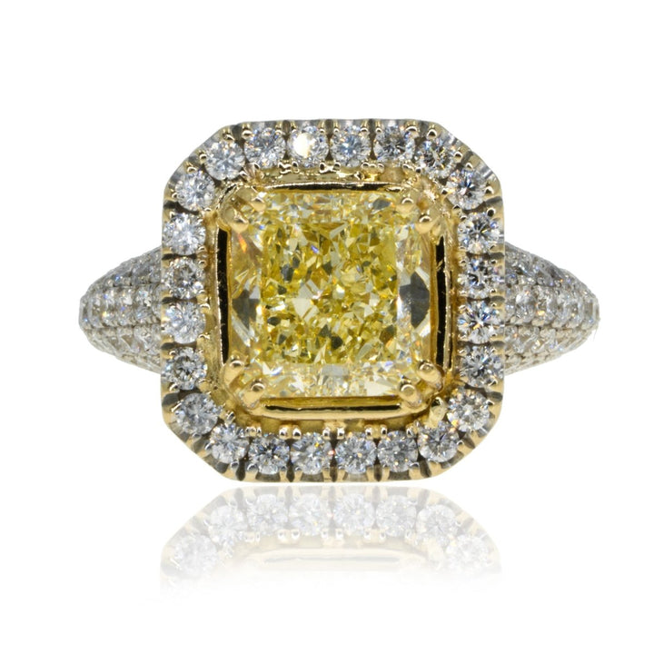 18KT White Gold 4.14CTW Natural Canary Yellow Diamond Ring, 2.64ct center - Giorgio Conti Jewelers