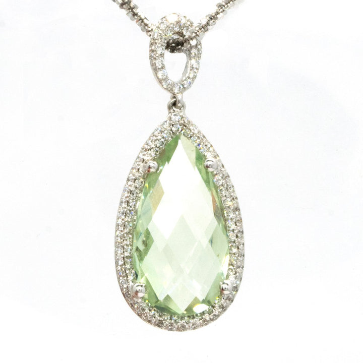 18KT White Gold 5.07CTW Pear Cut Prong Set Green Amethyst and Diamond Pendant - Giorgio Conti Jewelers