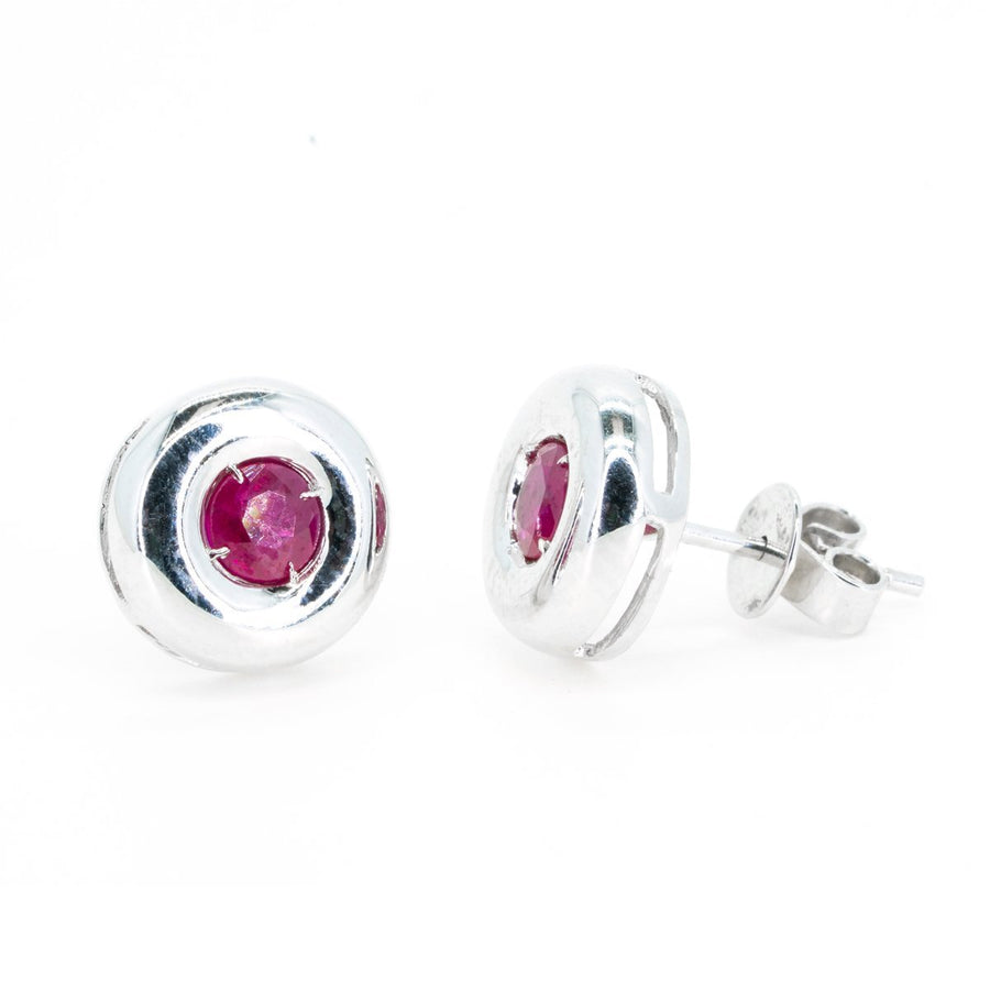 18Kt White Gold .70ctw NATURAL Round Cut Bezel Ruby Gemstone Stud Earrings Fine Rubies - Giorgio Conti Jewelers