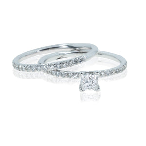 18KT White Gold .70CTW Princess Diamond Engagement Ring & Wedding Band Set - Giorgio Conti Jewelers
