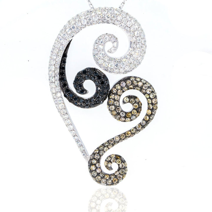18KT White Gold 7.39ctw Round Cut Prong Set Black and White Diamond Swirl Pendant - Giorgio Conti Jewelers