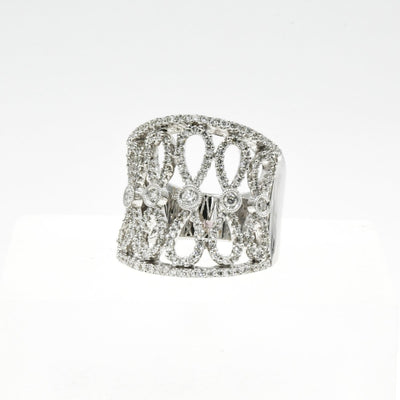 18KT White Gold Diamond Free Form Band Ring - Giorgio Conti Jewelers
