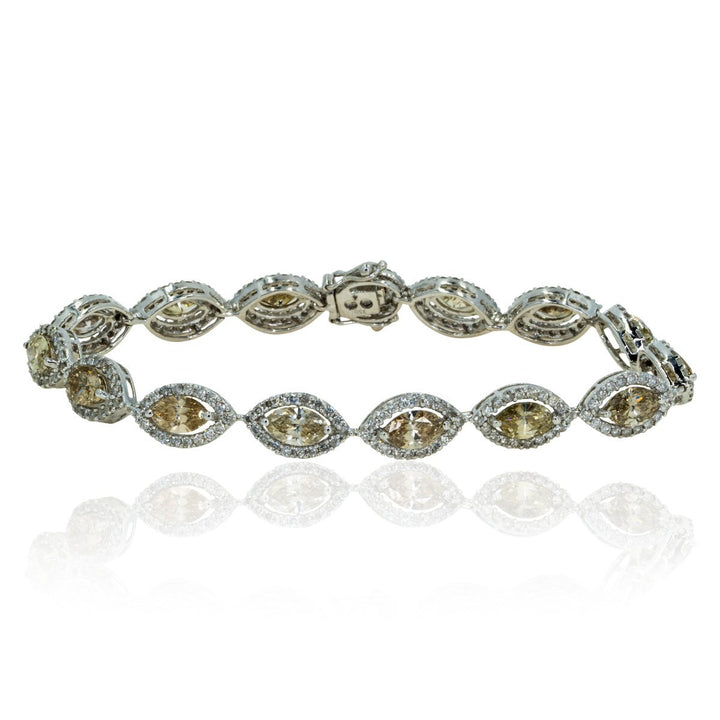 18kt White Gold Natural 7.50ctw Marquise and Round Diamond Tennis Bracelet with Halo Diamonds Champagne Diamonds - Giorgio Conti Jewelers
