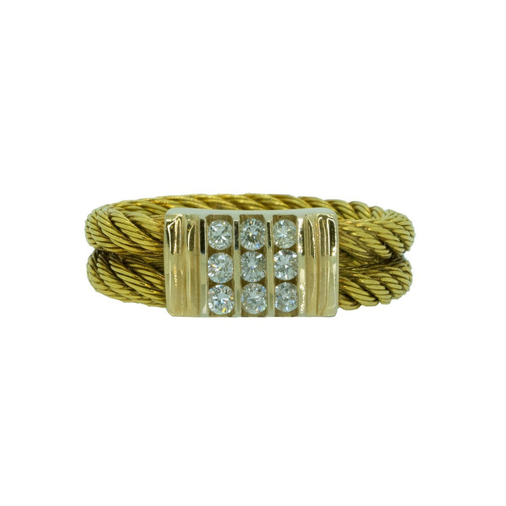 18KT Yellow Gold 0.30ctw Round Cut Diamond Rope Band - Giorgio Conti Jewelers