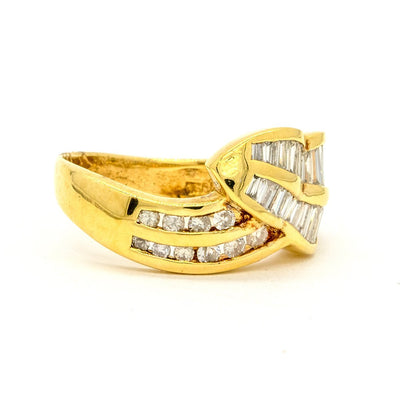 18KT Yellow Gold 1.27CTW Baguette and Round Brilliant Cut Channel Set Natural Diamond Cocktail Ring - Giorgio Conti Jewelers