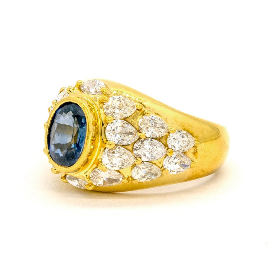 18KT Yellow Gold 4.85CTW Oval Cut Bezel Natural Sapphire and Diamond Ring - Giorgio Conti Jewelers