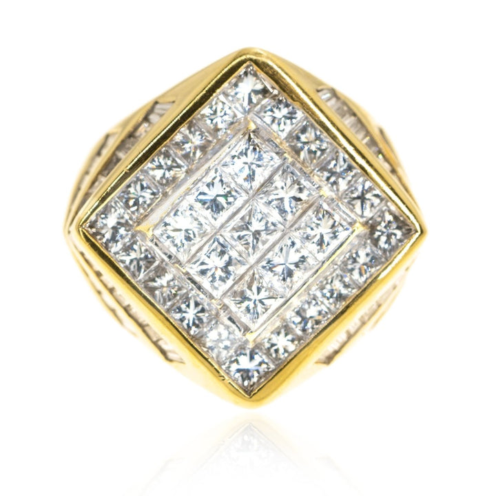 18KT Yellow Gold Invisible 6.10CTW Diamond Mens Ring - Giorgio Conti Jewelers