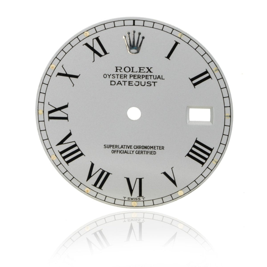 Rolex Day-Date President 36MM Silver Authentic Factory Roman Numeral Watch Dial - Giorgio Conti Jewelers