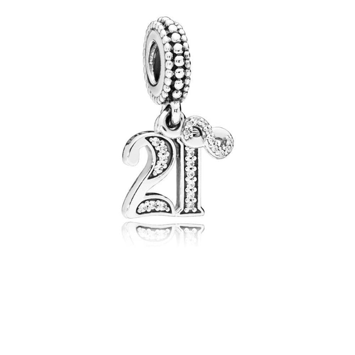 21 Years of Love, Clear CZ Silver Dangle with Clear Cubic Zirconia - Giorgio Conti Jewelers